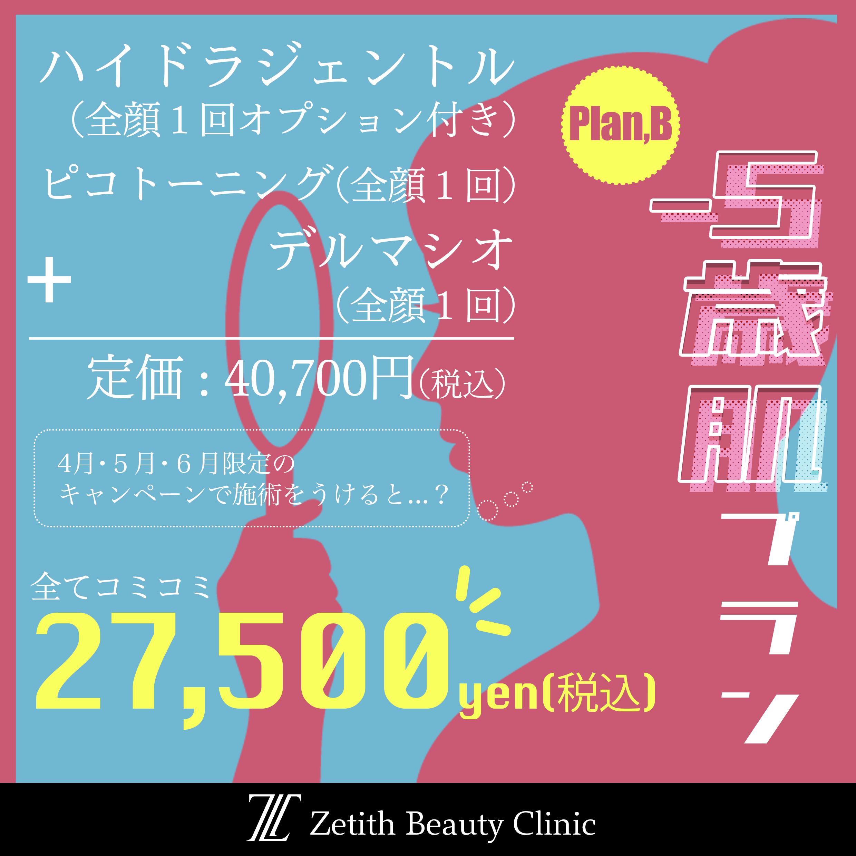 4月~6月のスキンキャンペーン<br>【-5歳肌プラン】