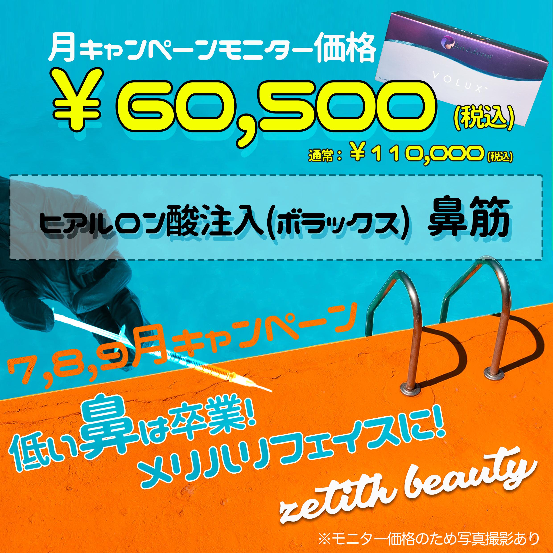 【7月8月9月限定】キャンペーン<br>鼻筋ヒアルロン酸